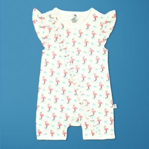 Miss Flamingo Short Sleeve Zipsuit-imababywear