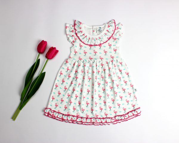 Miss Flamingo Knitted Frill Gown-imababywear
