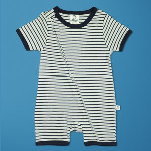 Nautical Stripes Short Sleeve Zipsuit-imababywear