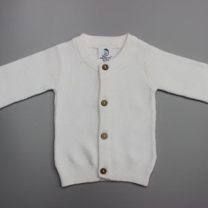 White Knitted Cardigan-imababywear