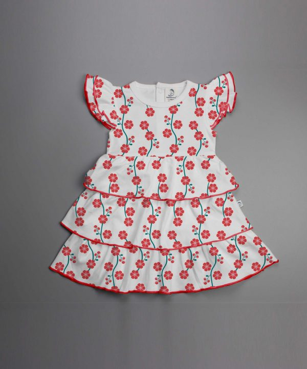 Red Blossom Knitted Layered Dress-imababywear