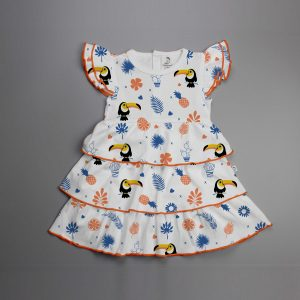 Toucan Forest Knitted Peterpan Dress-imababywear