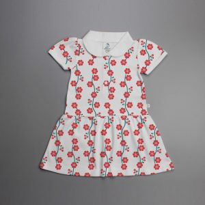Red Blossom Knitted Peterpan Dress-imababywear