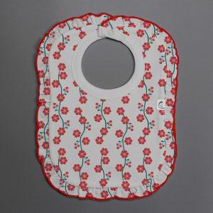 Red Blossom frill bib-imababywear