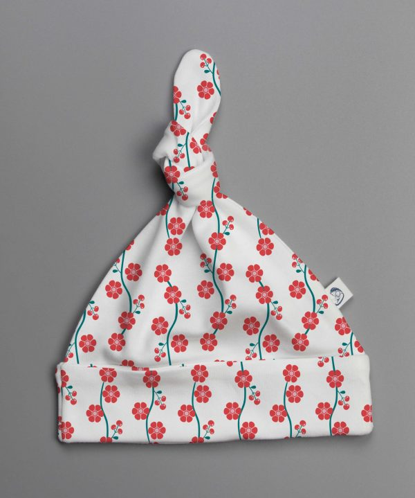 Red Blossom knotted beanie-imababywear
