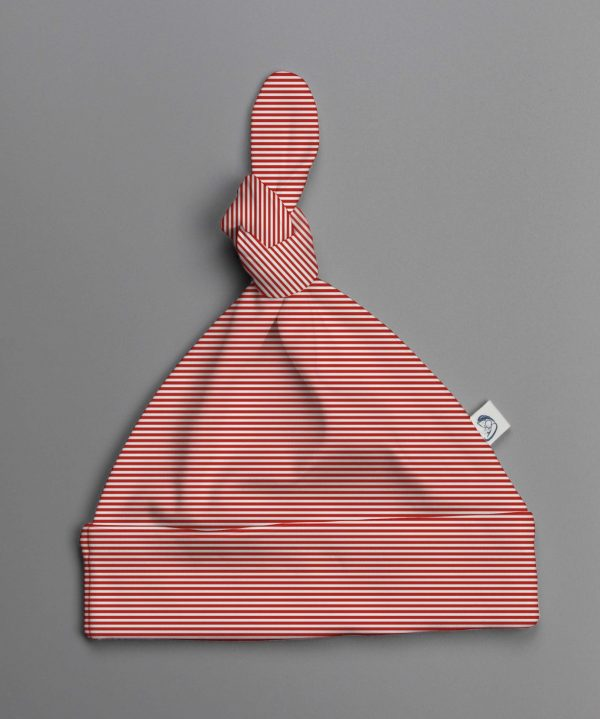 Red Stripes knotted beanie-imababywear
