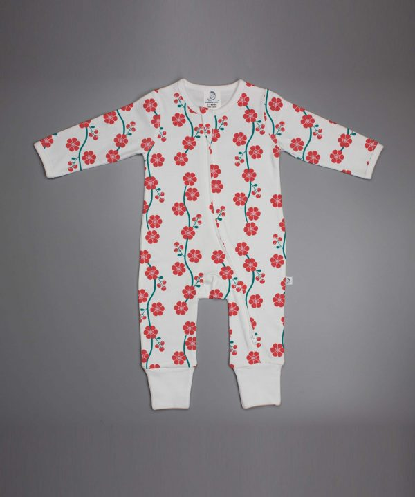 Red Blossom long sleeve zipsuit-imababywear