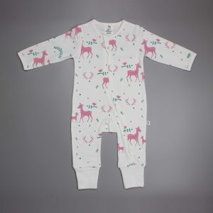 Woodland Deer long sleeve zipsuit-imababywear