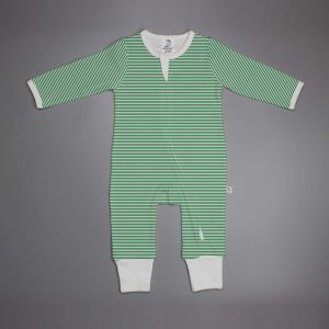 Green Stripes long sleeve zipsuit-imababywear