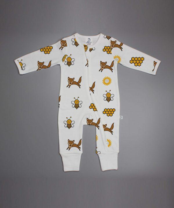 Happy Bees long sleeve zipsuit-imababywear