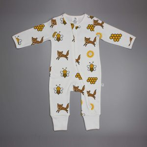 Happy Bees long sleeve zipsuit-imababywear