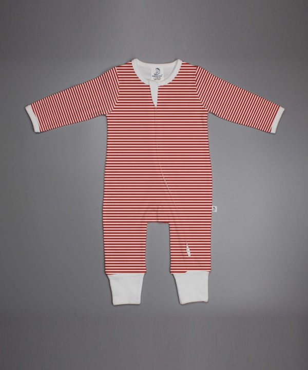 Red Stripes long sleeve zipsuit-imababywear