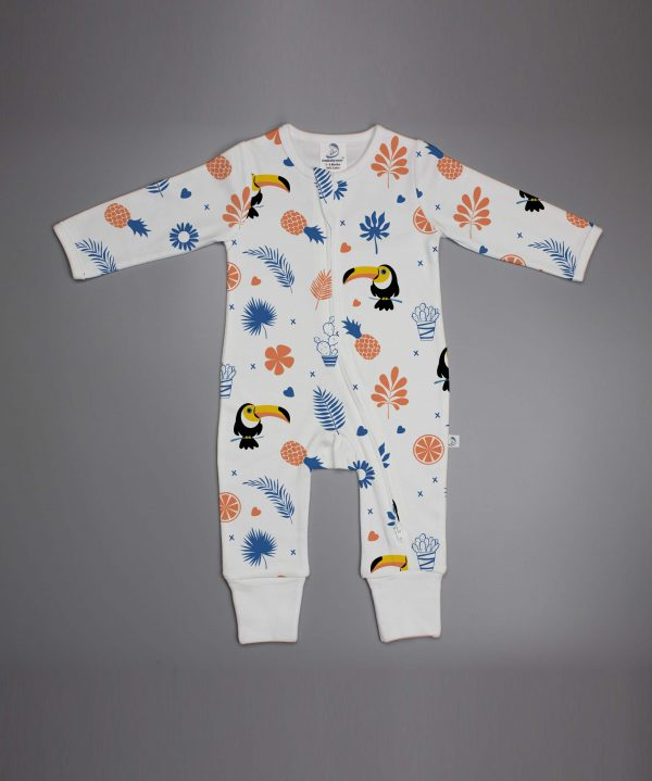 Toucan Forest long sleeve zipsuit-imababywear