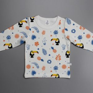 Toucan Forest puff sleeve T-shirt-imababywear