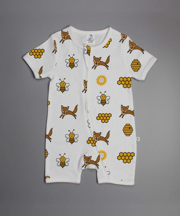Happy Bees short sleeve Zipsuit-imababywear