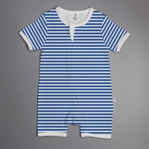 Blue Stripes short sleeve zipsuit-imababywear