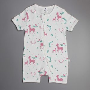 Woodland Deer short sleeve zipsuit-imababywear
