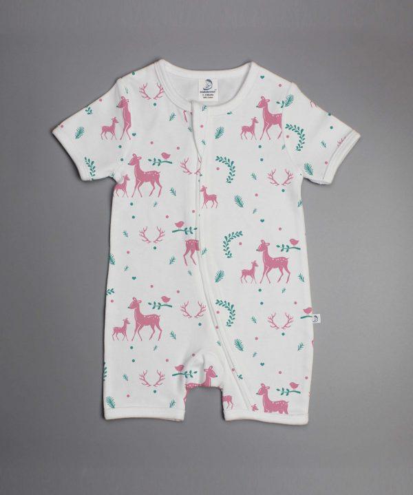 Woodland Deer short sleeve zipsuit-imababywear