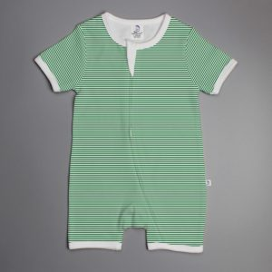 Green Stripes short sleeve zipsuit-imababywear