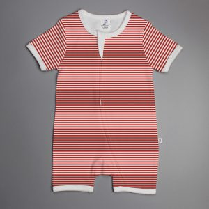 Red Stripes short sleeve zipsuit-imababywear
