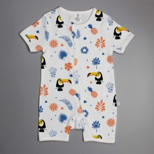Toucan Forest short sleeve zipsuit-imababywear