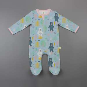 Arctic Bear Zipsuit Long Sleeve with Feet-imababywear