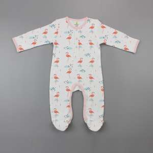 Caribbean Flamingo Button Growsuit-imababywear