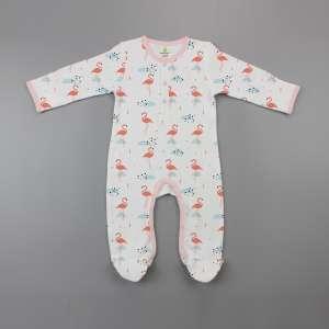 Caribbean Flamingo Button Growsuit-imababywear