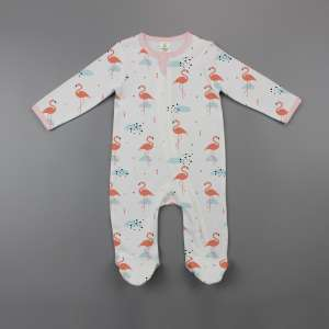 Caribbean Flamingo Long Sleeve Zipsuit with Feet-imababywear