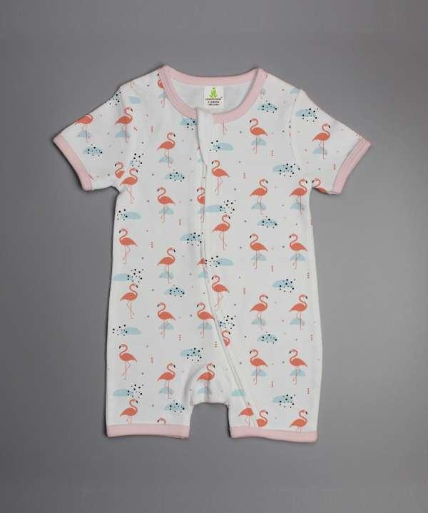 Caribbean Flamingo short sleeve zipsuit-imababywear