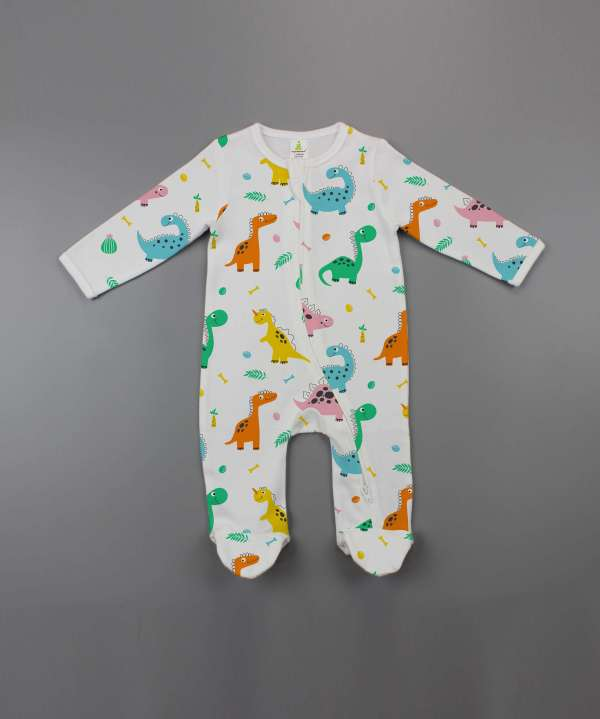 Dino Land Zipsuit Long Sleeve with Feet-imababywear