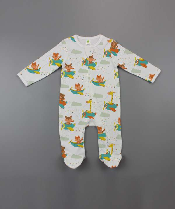 Flying squad Long Sleeve Zipsuit with Feet-imababywear