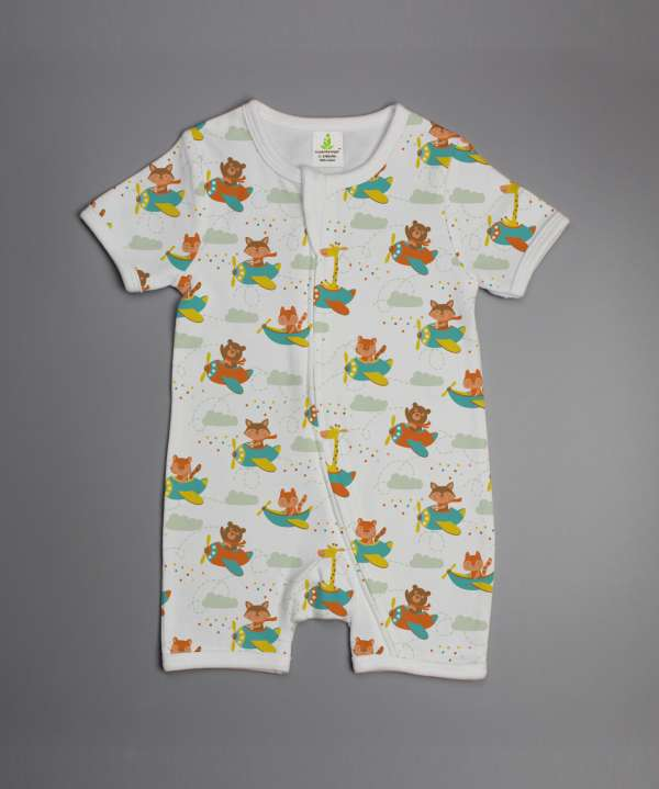 Flying squad short sleeve zipsuit-imababywear