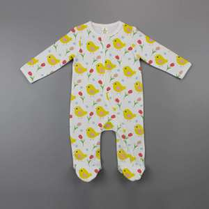 Little Birdies Long Sleeve Zipsuit with Feet-imababywear