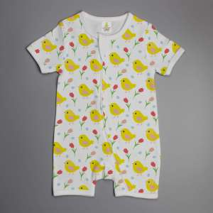 Little Birdies short sleeve zipsuit-imababywear