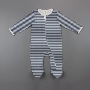 Sapphire Stripes Long Sleeve Zipsuit with Feet-imababywear