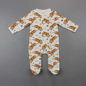 Tiger Cubs Long Sleeve Zipsuit with Feet-imababywear