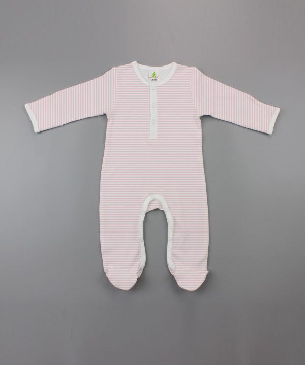pink stripes Button Growsuit-imababywear