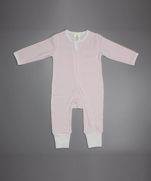 pink stripes Long sleeve Zipsuit-imababywear