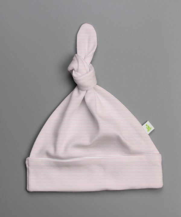 pink stripes knotted beanie-imababywear
