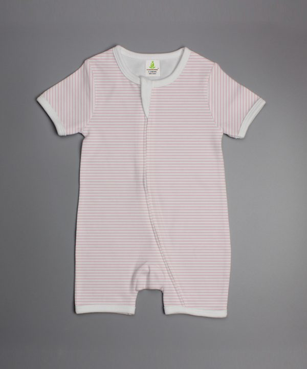 pink stripes short sleeve zipsuit-imababywear
