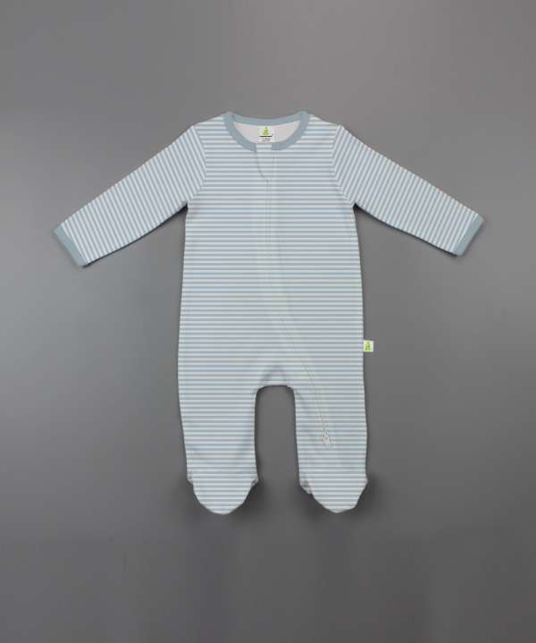 Cool Blue Stripes Long Sleeve Zipsuit with Feet-imababywear