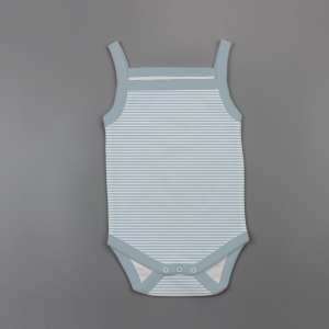 Cool Blue Stripes Strapy Bodysuit -imababywear