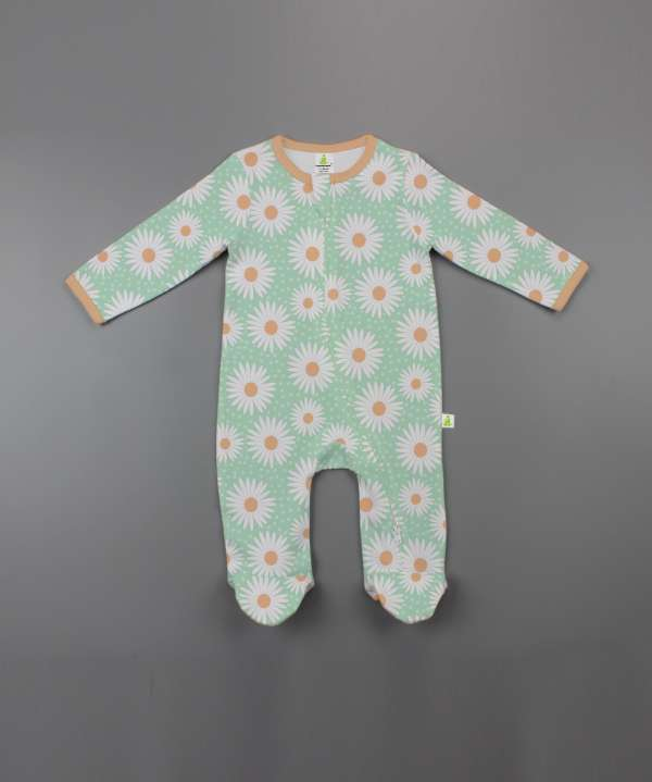 Daisy Valley Long Sleeve Zipsuit with Feet-imababywear