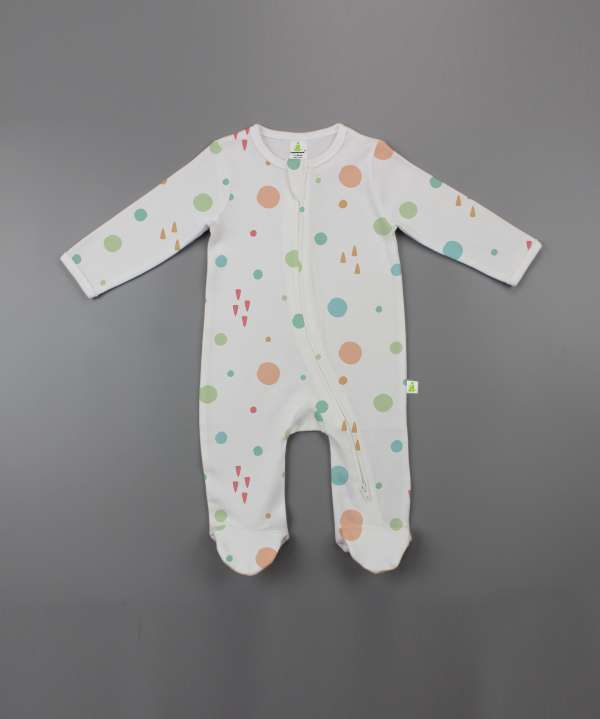 Dots and Doodles Long Sleeve Zipsuit with Feet-imababywear