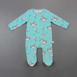 Unicorn Fantasy Long Sleeve Zipsuit with Feet-imababywear