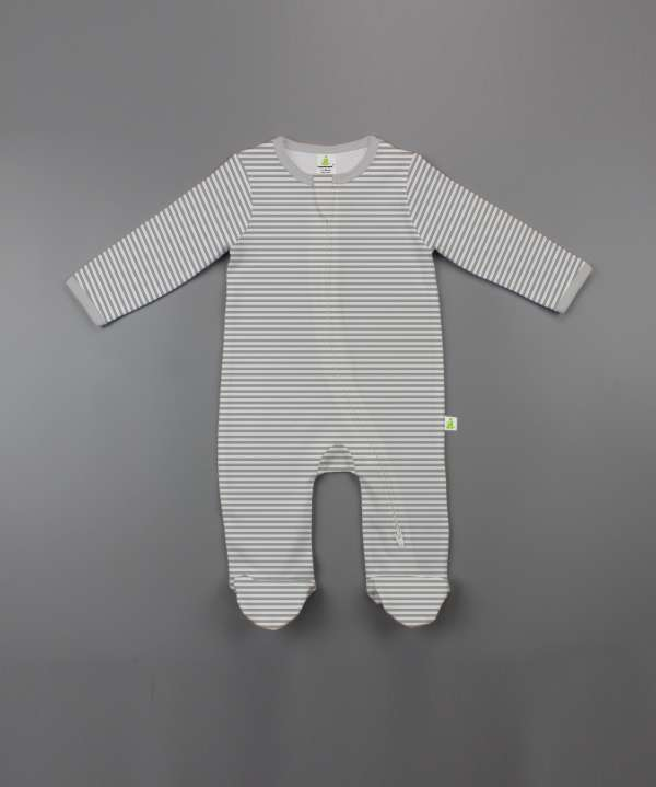 Grey Stripes Long Sleeve Zipsuit with Feet-imababywear