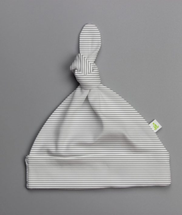Grey Stripes Knotted Beanie-imababywear
