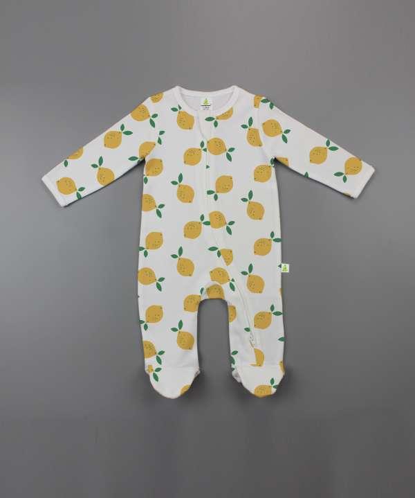 Little Lemons Long Sleeve Zipsuit with Feet-imababywear