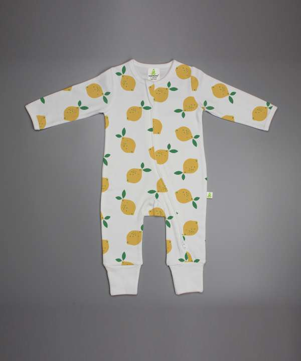 Little Lemons Long Sleeve Zipsuit-imababywear